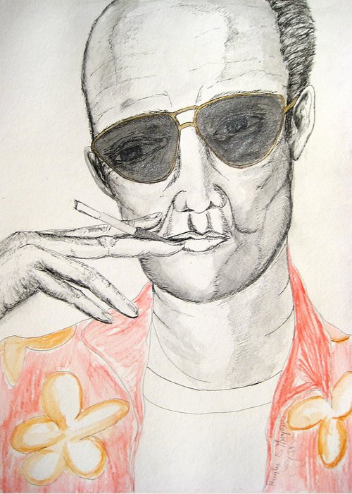 Hunter Thompson Gonzo Journalist Portrait Man Darkestartist Darkest Artist Greeting Card featuring the painting Hunter S. Thompson by Darkest Artist