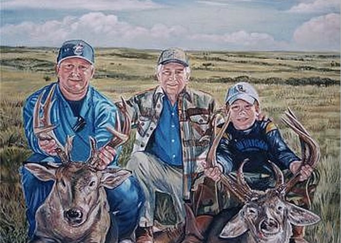 Portrait Greeting Card featuring the painting Hunters - Three Generations by Diann Baggett