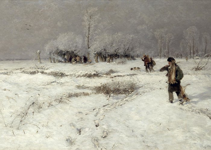 Hunting Greeting Card featuring the painting Hunting In The Snow by Hugo Muhlig