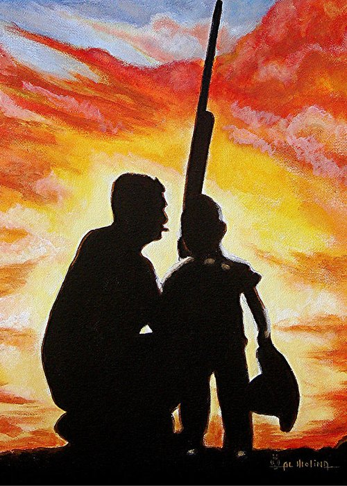 Hunting Greeting Card featuring the painting Hunting With My Dad by Al Molina