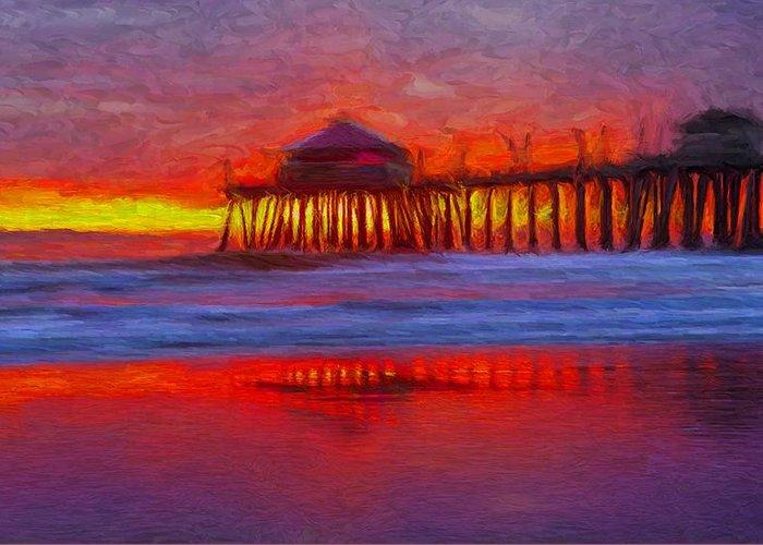 Huntington Beach Greeting Card featuring the digital art Huntington Beach by Caito Junqueira