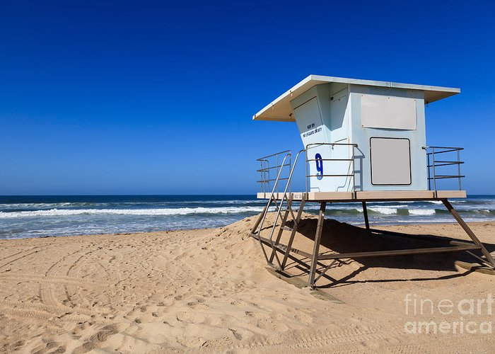 America Greeting Card featuring the photograph Huntington Beach Lifeguard Tower Photo by Paul Velgos