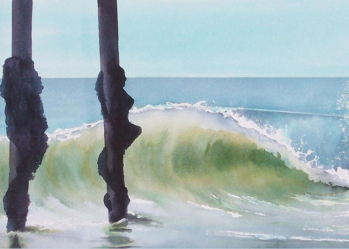 Surf Greeting Card featuring the painting Huntington Pier by Philip Fleischer