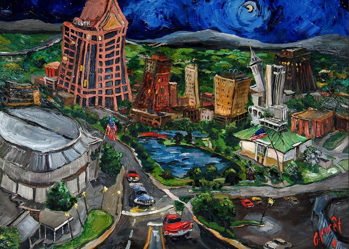 Huntsville Greeting Card featuring the painting Huntsville Skyline by Carole Foret