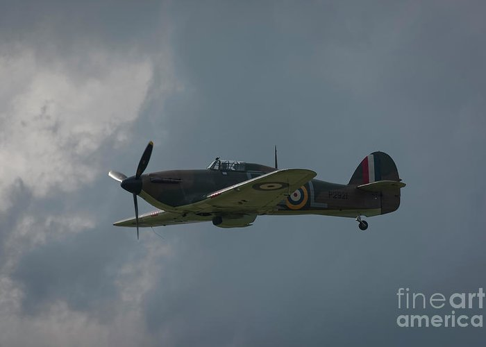 Hurricane Greeting Card featuring the photograph Raf Hawker Hurricane Fighter Plane by Philip Pound
