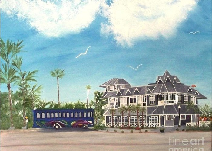 Florida Painting Greeting Card featuring the painting Hurricane Restaurant Pass A Grill Florida by Peggy Holcroft