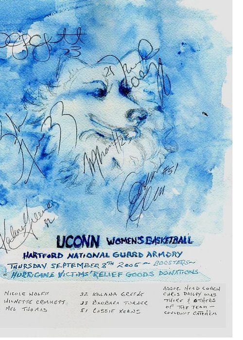 Sports Greeting Card featuring the painting Huskies team and Mascot-Armory 2005 by Elle Smith Fagan