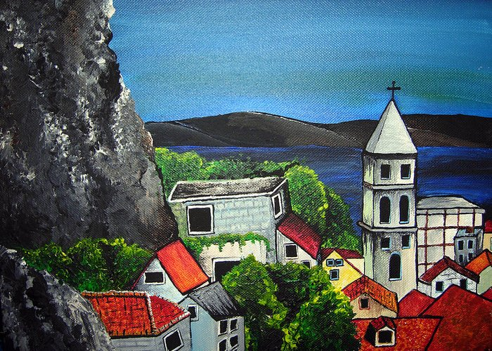 Croatia Greeting Card featuring the painting Hvar by Sharon Supplee