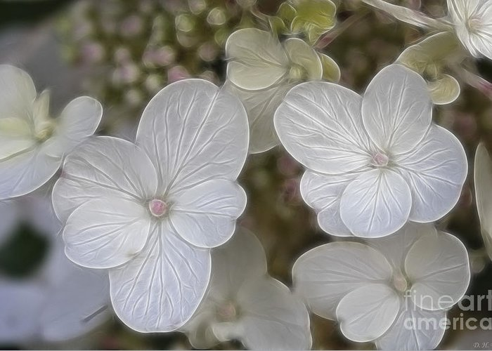 Flowers Greeting Card featuring the mixed media Hydrangea Fractalius by Deborah Benoit