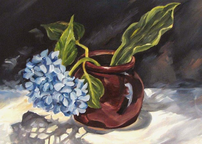Still Life Greeting Card featuring the painting Hydrangea In A Bean Pot by Cheryl Pass