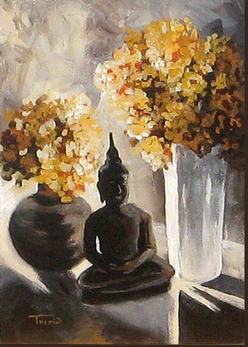 Buddha Greeting Card featuring the painting Hydrangeas In The Morning by Torrie Smiley