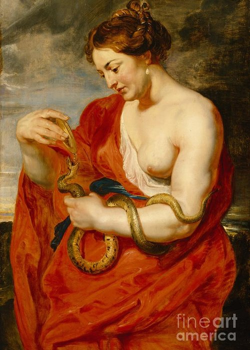 Hygeia Greeting Card featuring the painting Hygeia - Goddess Of Health by Peter Paul Rubens