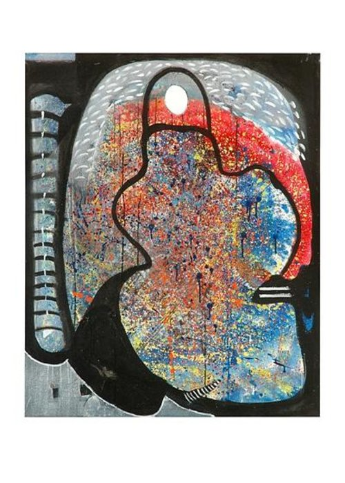 Abstract Art Greeting Card featuring the painting Hymn To Eternity by Victor Vijay Kumar