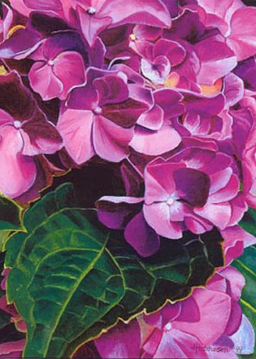 Pink Hydrangea Painting Greeting Card featuring the painting Hyrangea by Joyce Hutchinson