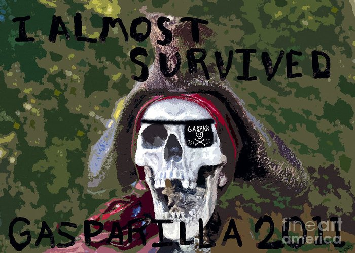 Gasparilla Greeting Card featuring the painting I Almost Survived by David Lee Thompson