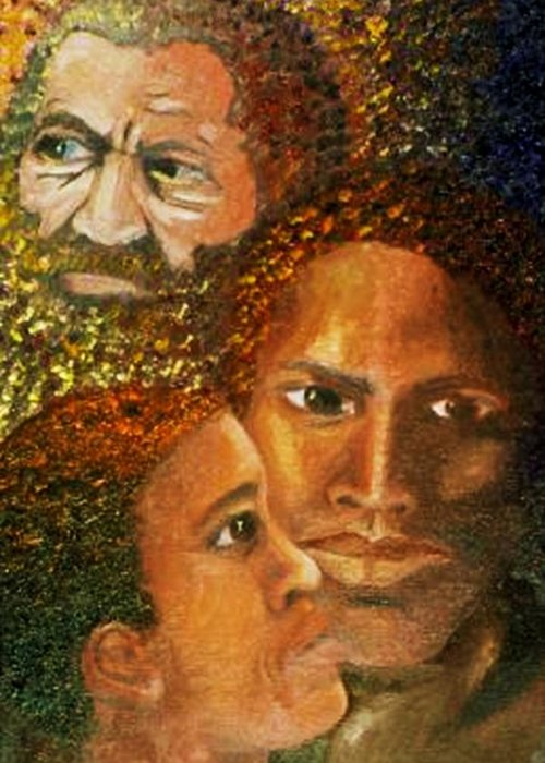 Portrait Greeting Card featuring the painting I Am A Man by Alima Newton