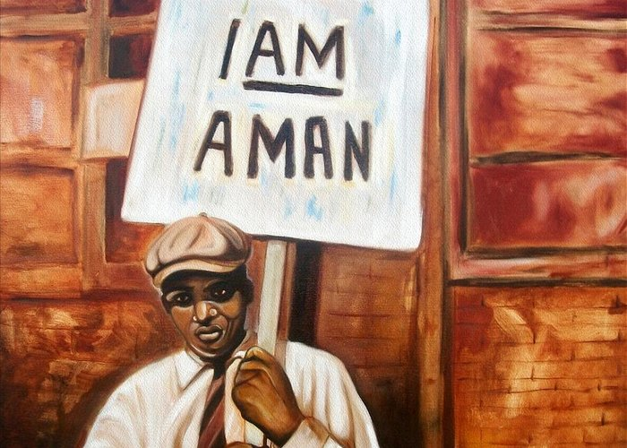 Emery Franklin Greeting Card featuring the painting I Am A Man by Emery Franklin