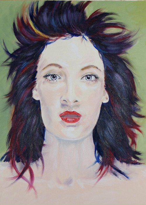 Face Greeting Card featuring the painting I Am by Janice Gell