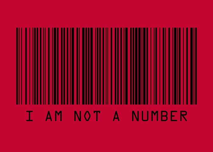 Barcode Greeting Card featuring the digital art I Am Not A Number by Michael Tompsett