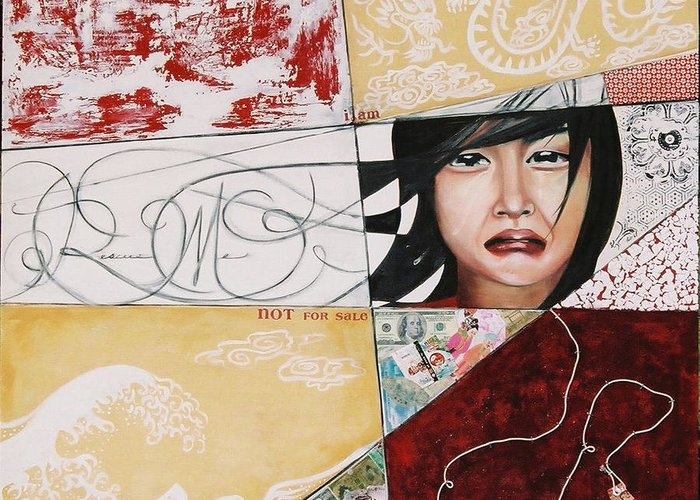 Asian Girl Greeting Card featuring the painting I Am Not A Tourist Attraction by Teresa Carter