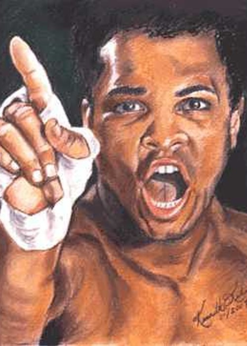 Boxer Greeting Card featuring the painting I Am The Greatest - Muhammad Ali by Kenneth Kelsoe