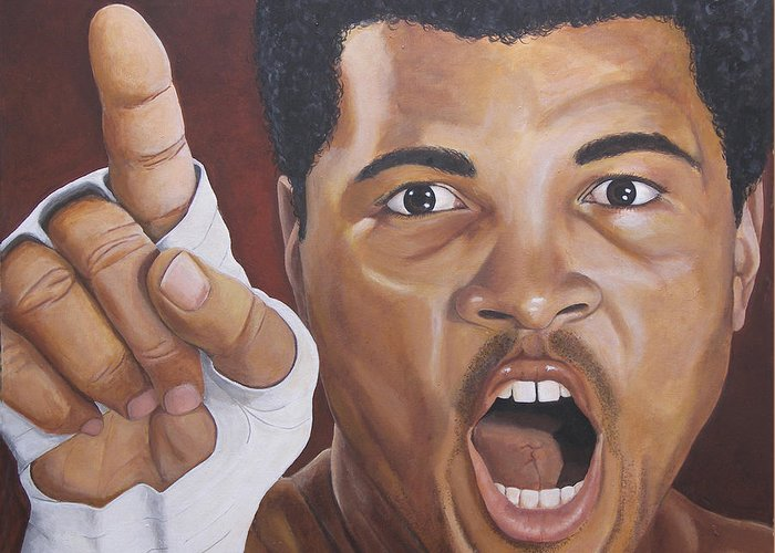 The Greatest Greeting Card featuring the painting I Am The Greatest 2 by Kenneth Kelsoe