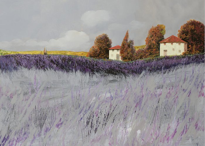 Lavender Greeting Card featuring the painting I Campi Di Lavanda by Guido Borelli