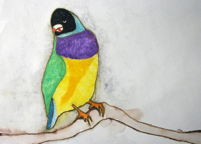 Birds Greeting Card featuring the painting I Don't Care by Patricia Arroyo