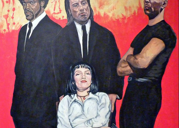 Pulp Fiction Greeting Card featuring the painting I Don't Smile For Pictures by Tom Roderick
