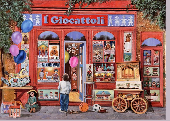 Toy Shop Paintings Greeting Cards