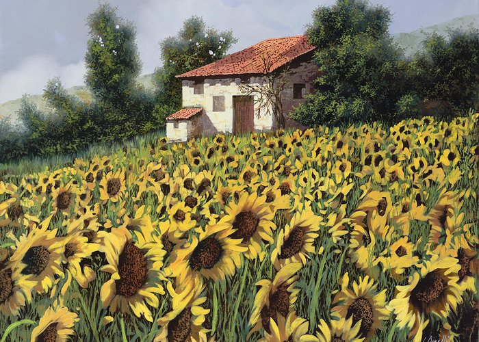 Tuscany Greeting Card featuring the painting I Girasoli Nel Campo by Guido Borelli