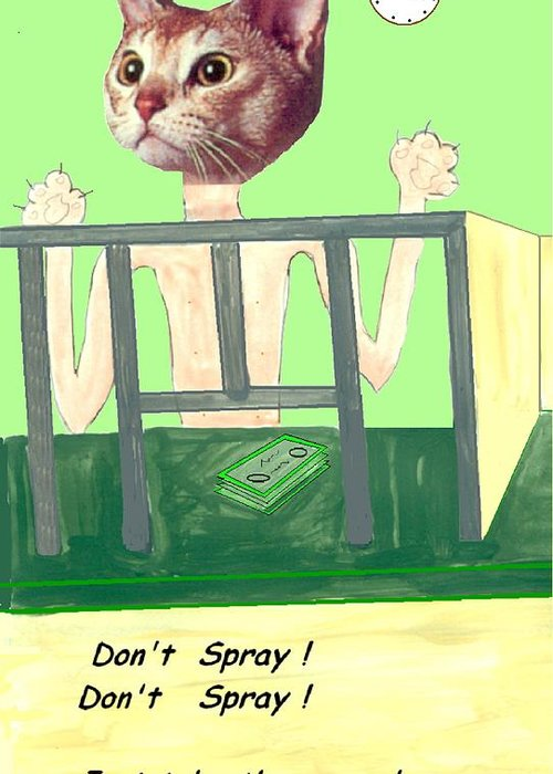 Cat Comic Bare Bank Hold Up Greeting Card featuring the mixed media I Give Up by Bethwyn Mills
