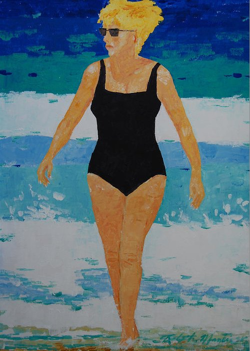 Beach Art Greeting Card featuring the painting I Got A Woman by Art Mantia