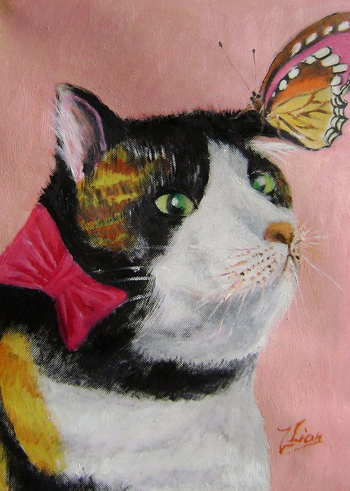 Cats Greeting Card featuring the painting I hate butterflies by Lian Zhen