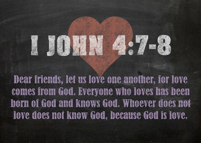 I John 4 7 8 Inspirational Quote Bible Verses On Chalkboard Art