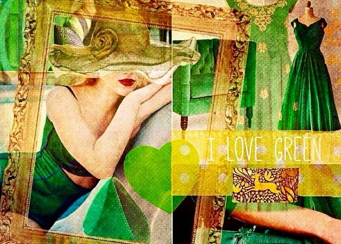 Greeting Card featuring the digital art I Love Green by Nidigicrea Collages
