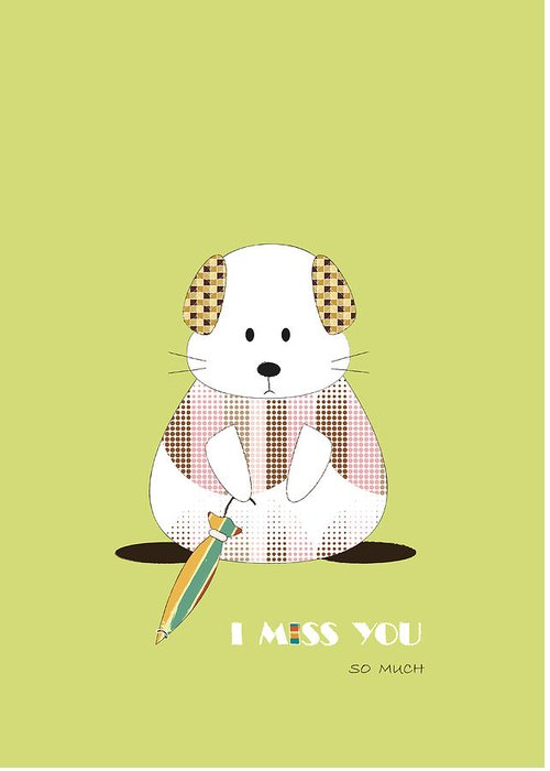 Vector Greeting Card featuring the digital art I Miss You,so Much by Phakin Rangsisiripaiboon
