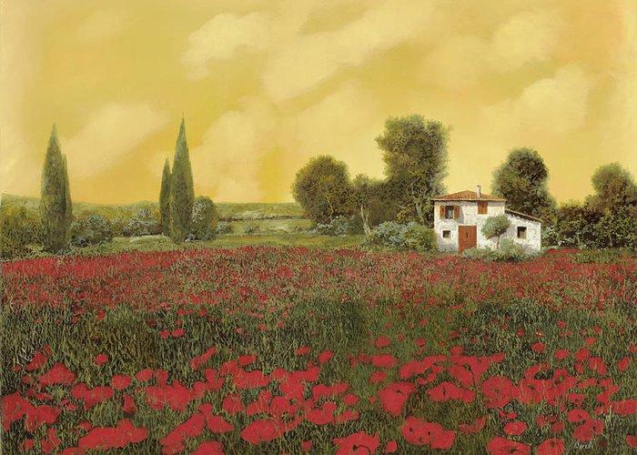 Summer Greeting Card featuring the painting I Papaveri E La Calda Estate by Guido Borelli