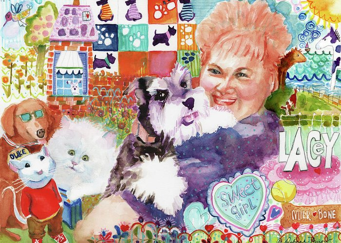 Fluffy Dog Greeting Card featuring the painting I Remember Lacey by Deborah Burow