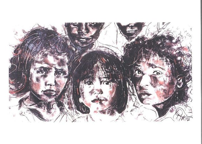 Children Greeting Card featuring the drawing I see the future... by Lynn Gray
