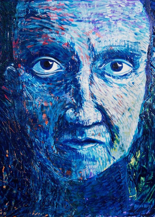 Blue Greeting Card featuring the painting I See You In So Many Ways by Rollin Kocsis