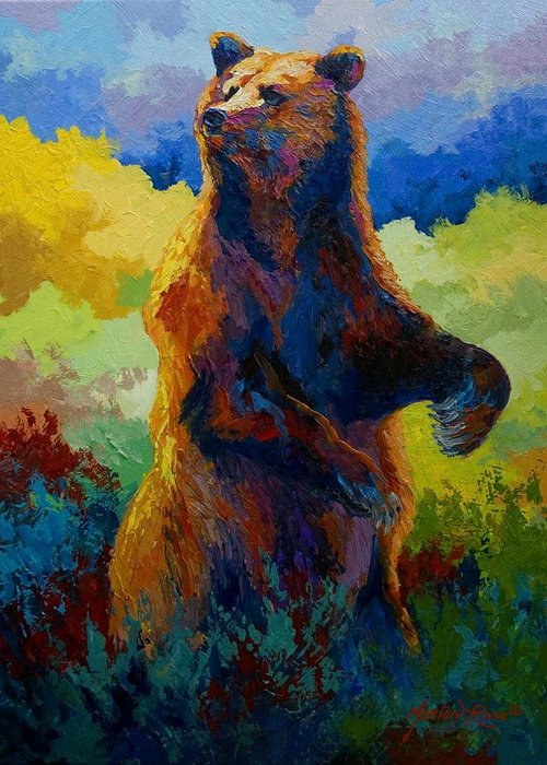Bear Greeting Card featuring the painting I Spy - Grizzly Bear by Marion Rose