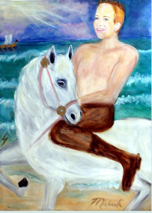 Viking Greeting Card featuring the painting I Viking by Michela Akers