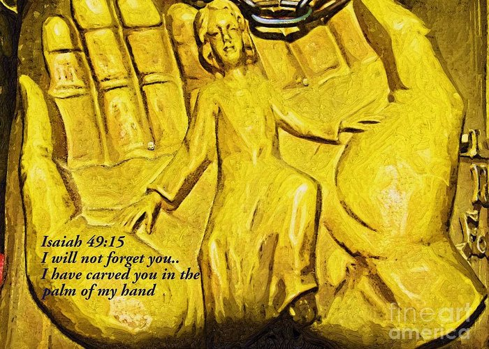 Isaiah 49:15 Greeting Card featuring the photograph I Will Not Forget You by Deborah MacQuarrie-Selib