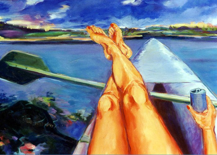 Legs Greeting Card featuring the painting I Wonder What The Poor People Are Doing Today by Pauline Hauder