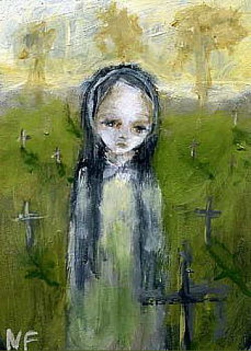 Cemetery Greeting Card featuring the painting I Won't Forget You by Mya Fitzpatrick