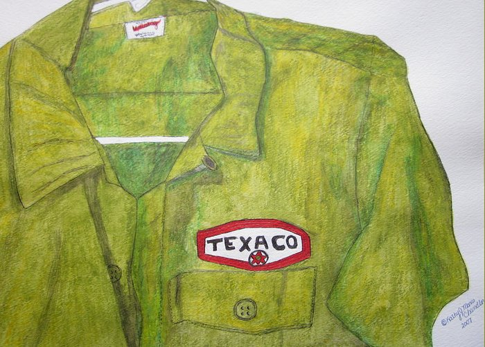 Vintage Greeting Card featuring the painting I Worked At Texaco by Kathy Marrs Chandler