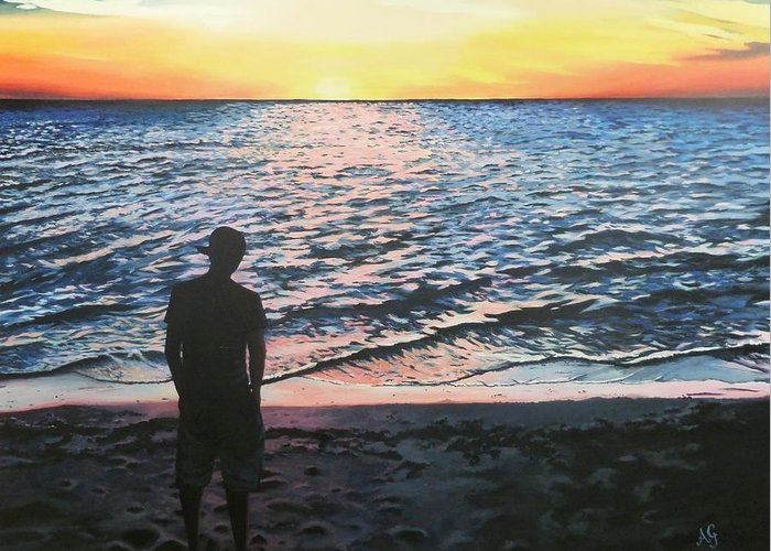 Acrylic Greeting Card featuring the painting Ian's Sunset by Anne Gardner