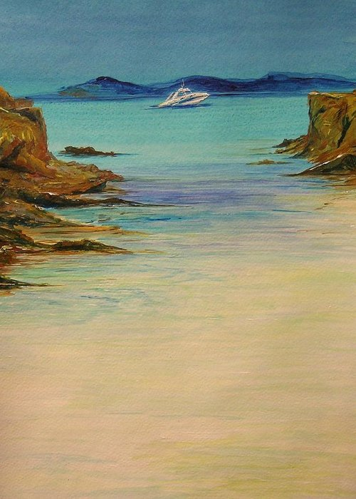 Seascape Original Painting Greeting Card featuring the painting Ibiza In The Distance.... by Lizzy Forrester