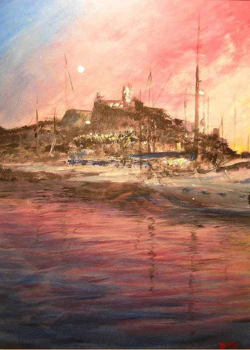 Yachts Greeting Card featuring the painting Ibiza Old Town At Sunset by Lizzy Forrester